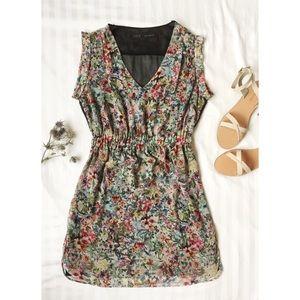 Zara Sheer Back Floral Dress ~Multi~ US M